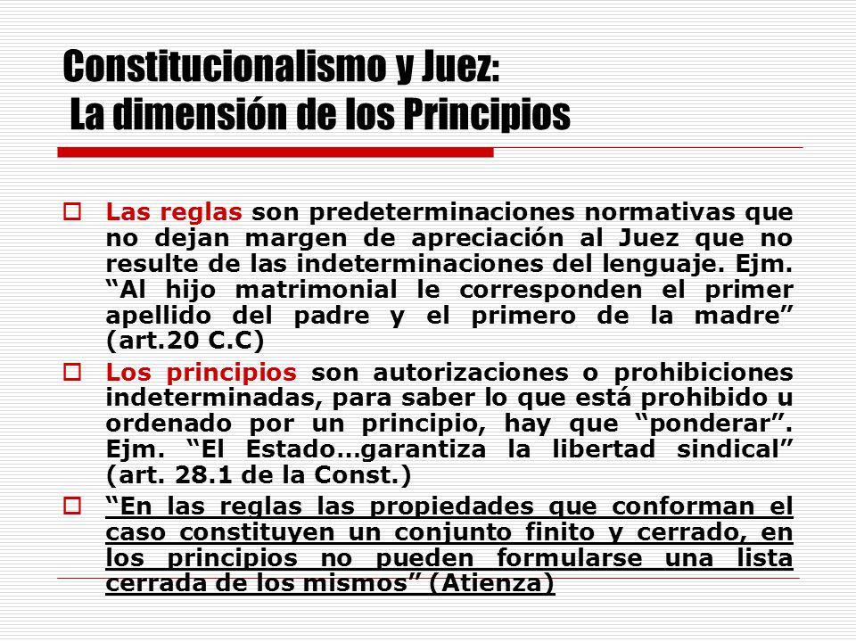 Constitucionalismo y Juez: La dimensión de los Principios