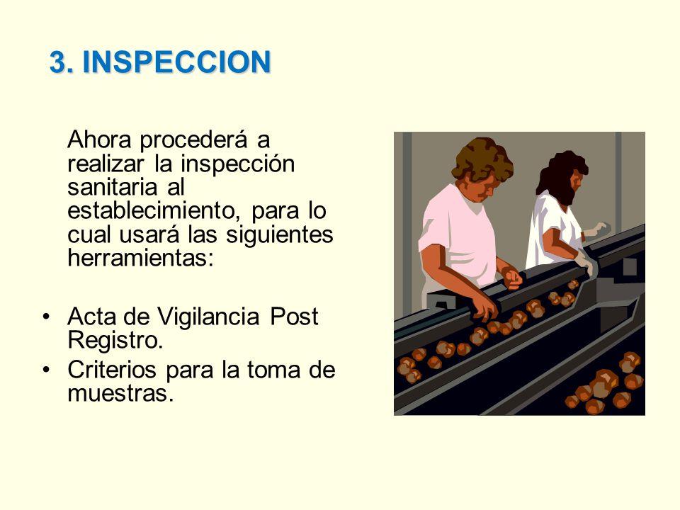 3. INSPECCION Ahora procederá a realizar la inspección sanitaria al establecimiento, para lo cual usará las siguientes herramientas: