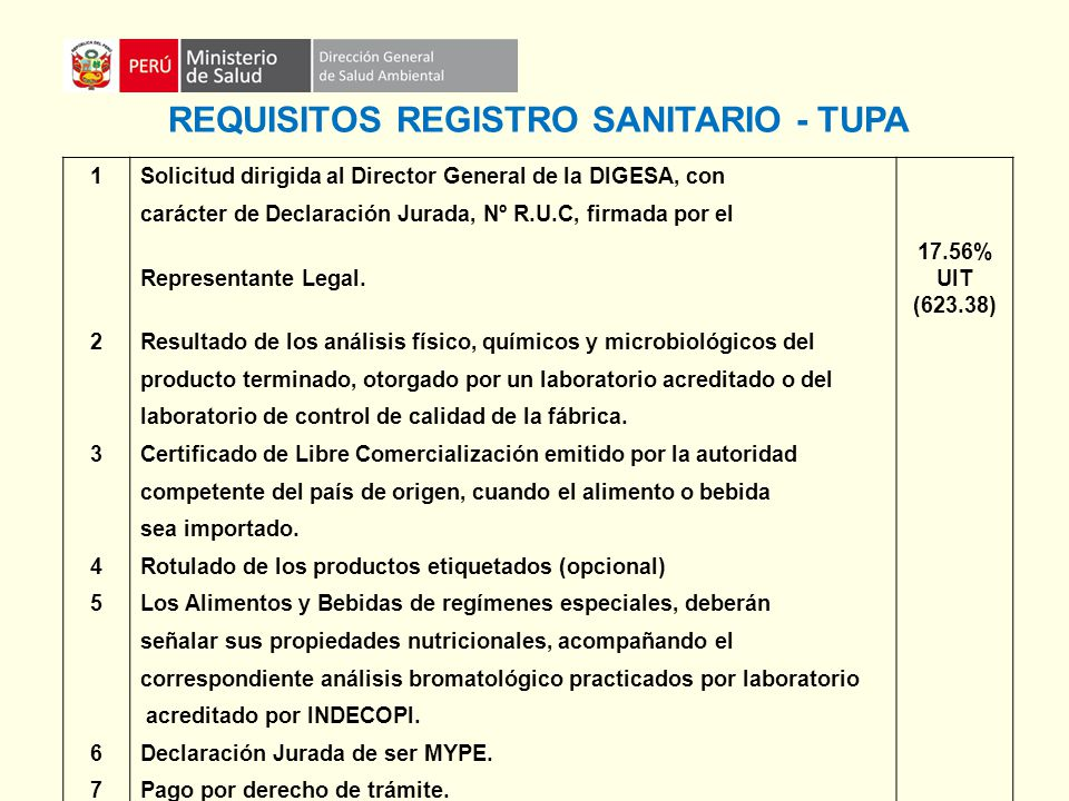 REQUISITOS REGISTRO SANITARIO - TUPA
