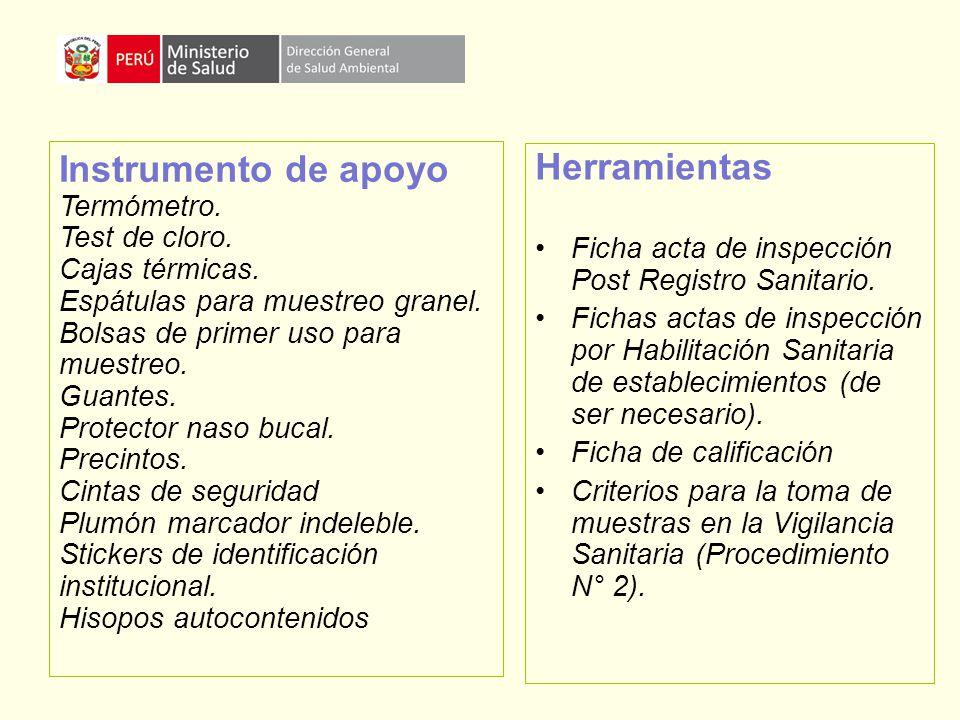 Instrumento de apoyo Herramientas Termómetro. Test de cloro.