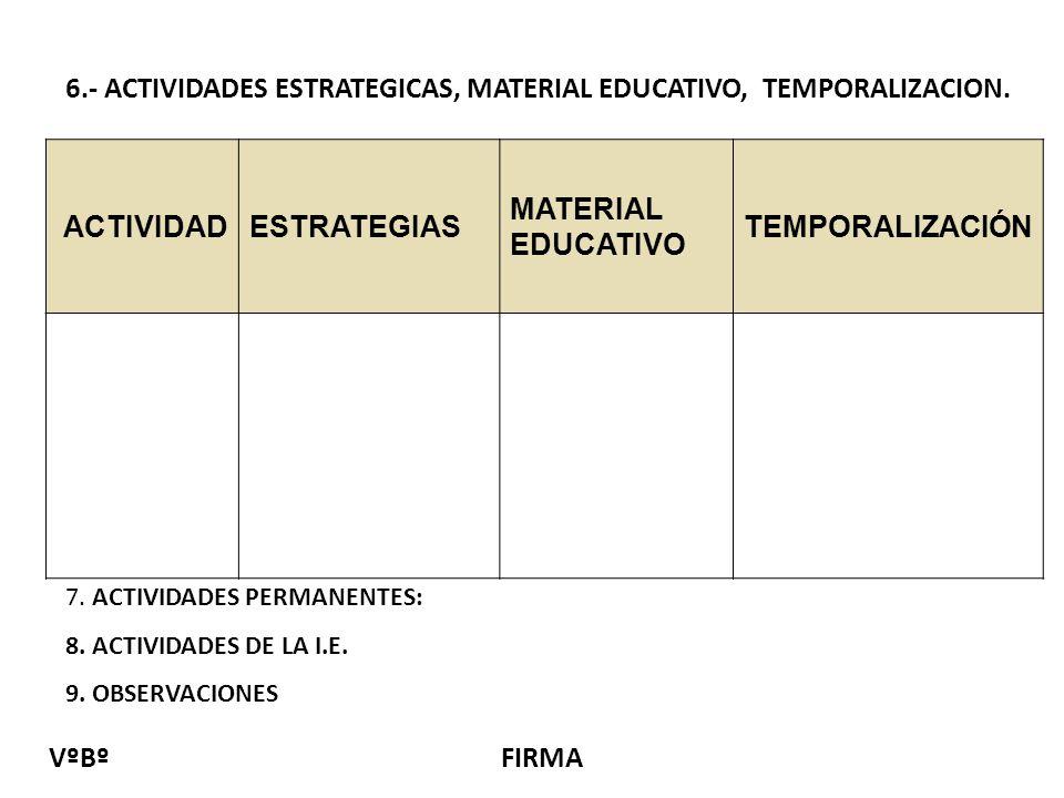 6.- ACTIVIDADES ESTRATEGICAS, MATERIAL EDUCATIVO, TEMPORALIZACION.