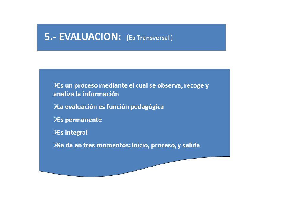 5.- EVALUACION: (Es Transversal )