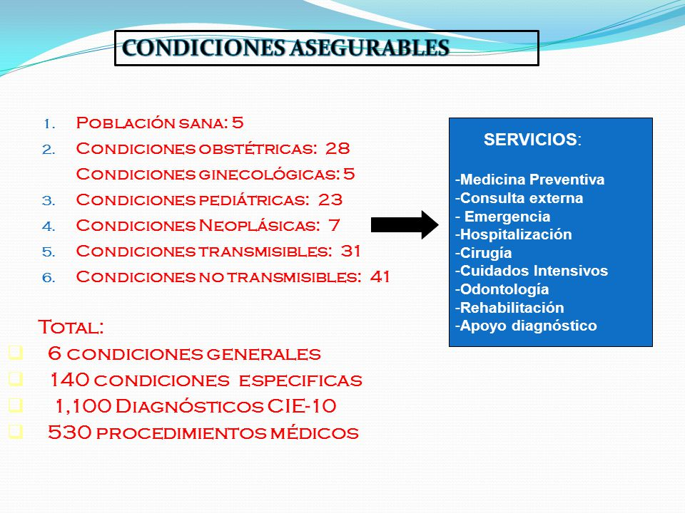 CONDICIONES ASEGURABLES