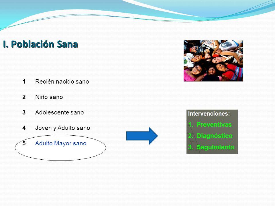 I. Población Sana 1 Recién nacido sano 2 Niño sano 3 Adolescente sano