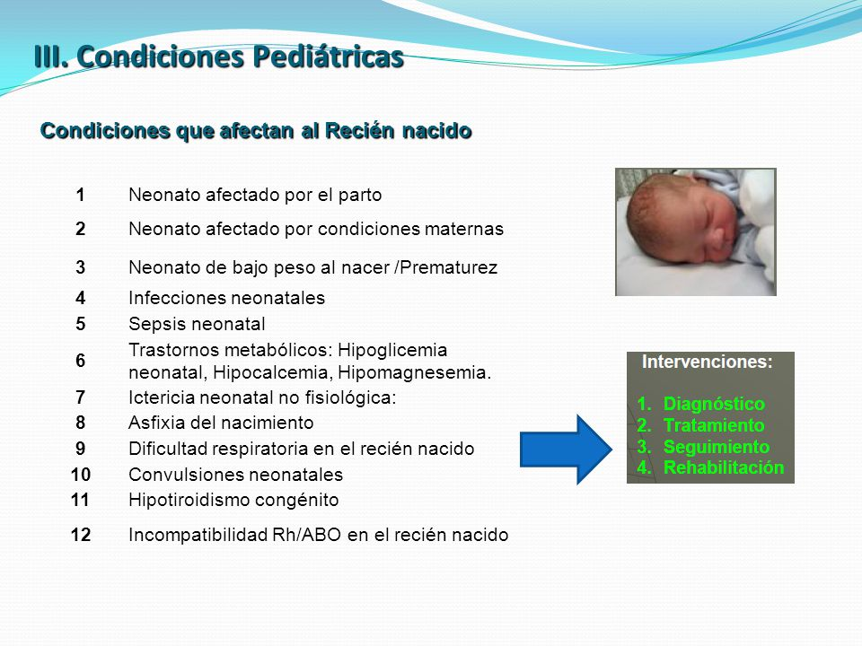 III. Condiciones Pediátricas