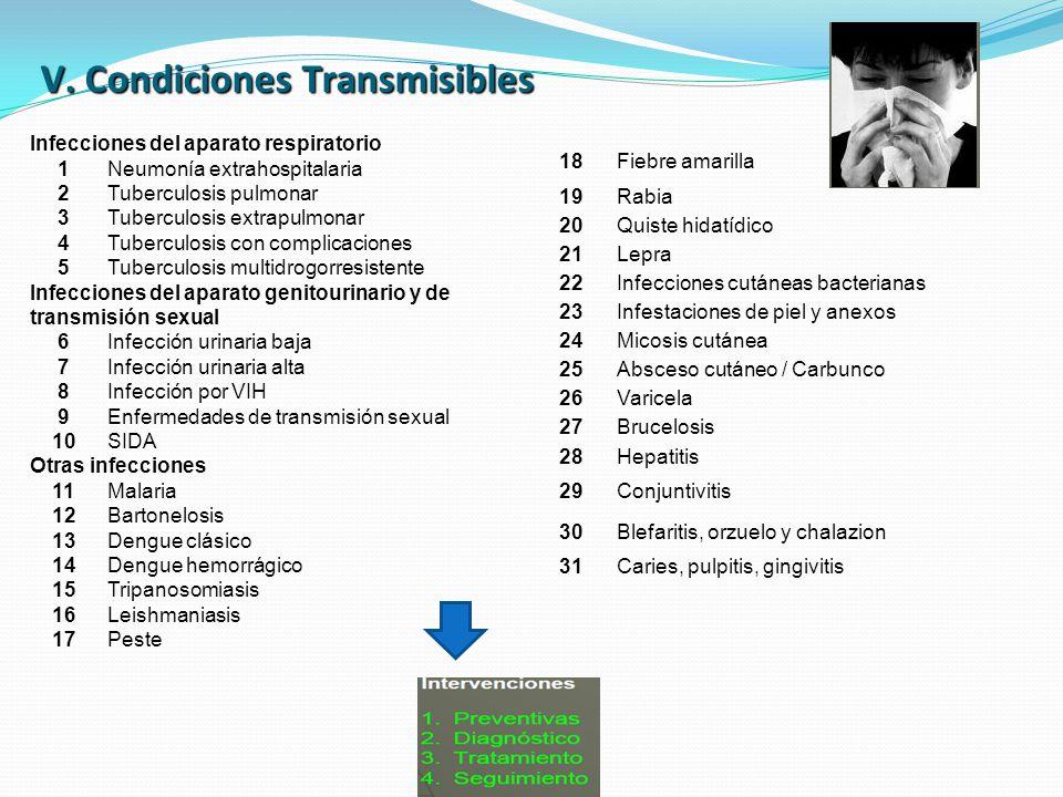 V. Condiciones Transmisibles