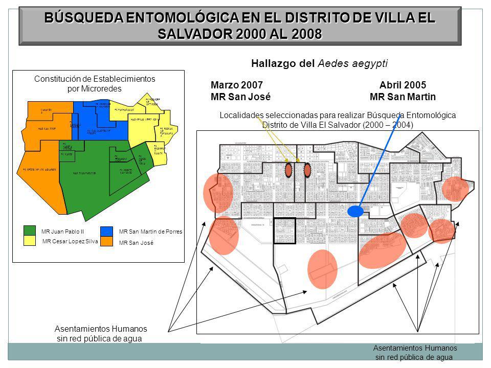 BÚSQUEDA ENTOMOLÓGICA EN EL DISTRITO DE VILLA EL SALVADOR 2000 AL 2008
