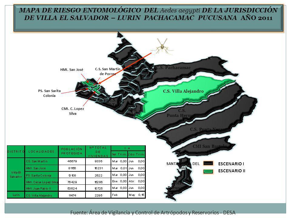 MAPA DE RIESGO ENTOMOLÓGICO DEL Aedes aegypti DE LA JURISDICCIÓN DE VILLA EL SALVADOR – LURIN PACHACAMAC PUCUSANA AÑO 2011