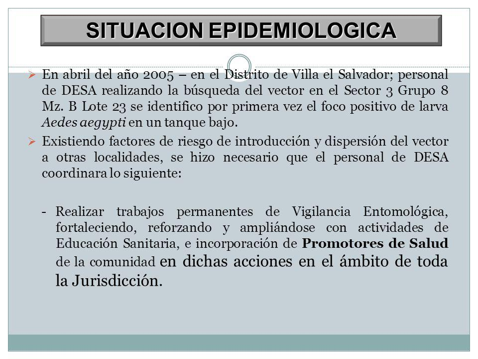 SITUACION EPIDEMIOLOGICA