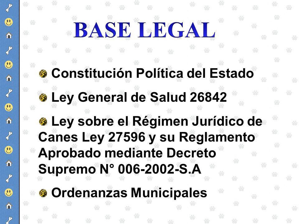 BASE LEGAL Constitución Política del Estado Ley General de Salud 26842