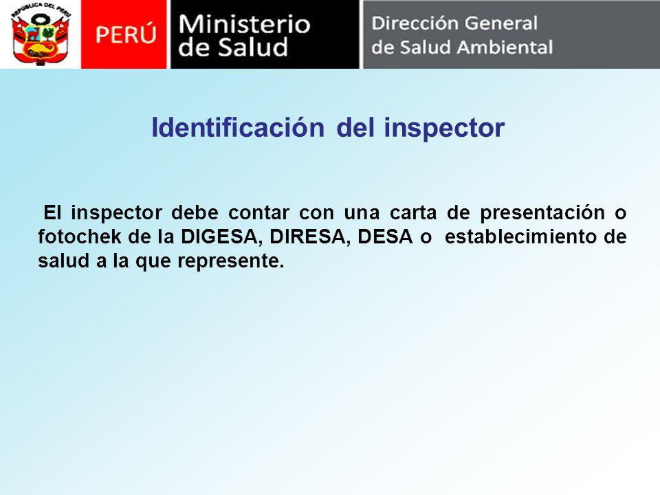 Identificación del inspector