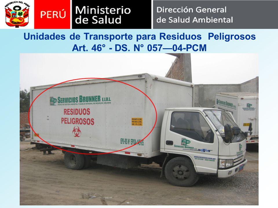 Unidades de Transporte para Residuos Peligrosos