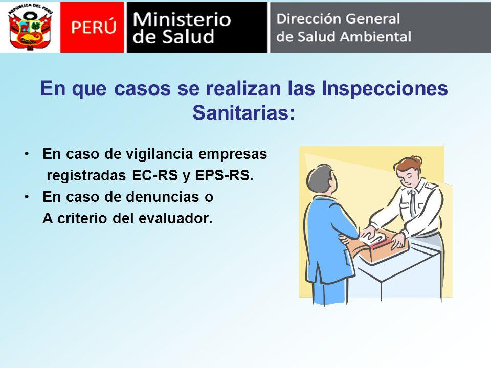 En que casos se realizan las Inspecciones Sanitarias: