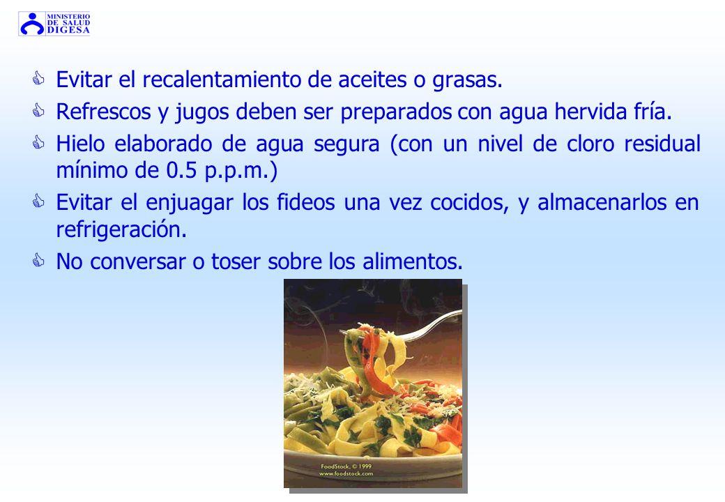 Evitar el recalentamiento de aceites o grasas.