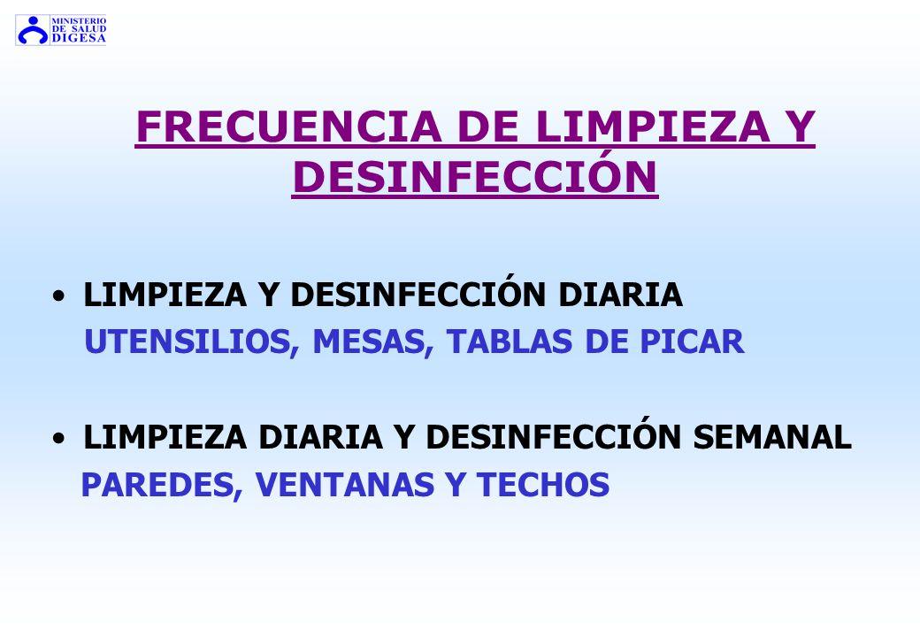 FRECUENCIA DE LIMPIEZA Y DESINFECCIÓN