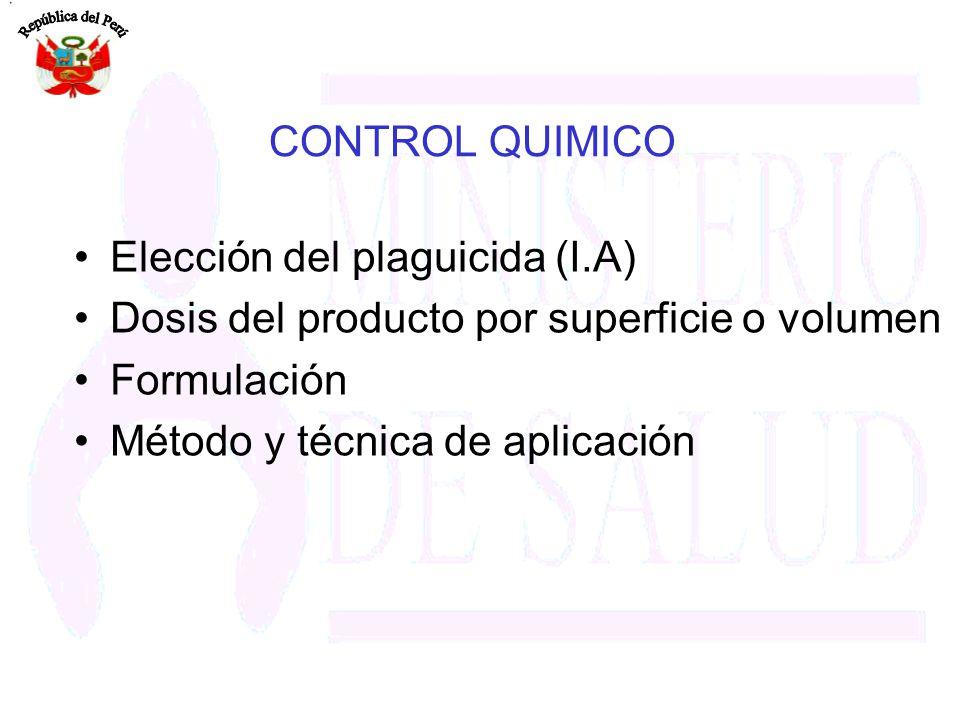CONTROL QUIMICO Elección del plaguicida (I.A)