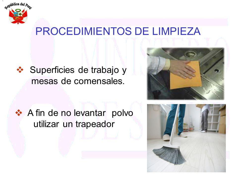 PROCEDIMIENTOS DE LIMPIEZA