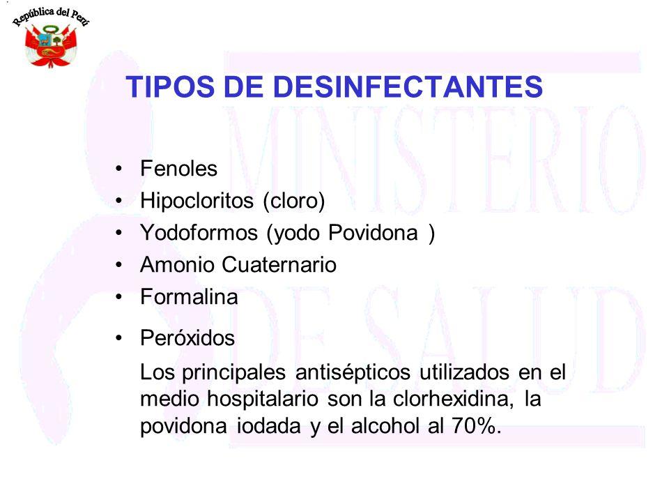 TIPOS DE DESINFECTANTES