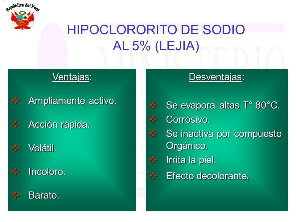 HIPOCLORORITO DE SODIO AL 5% (LEJIA)