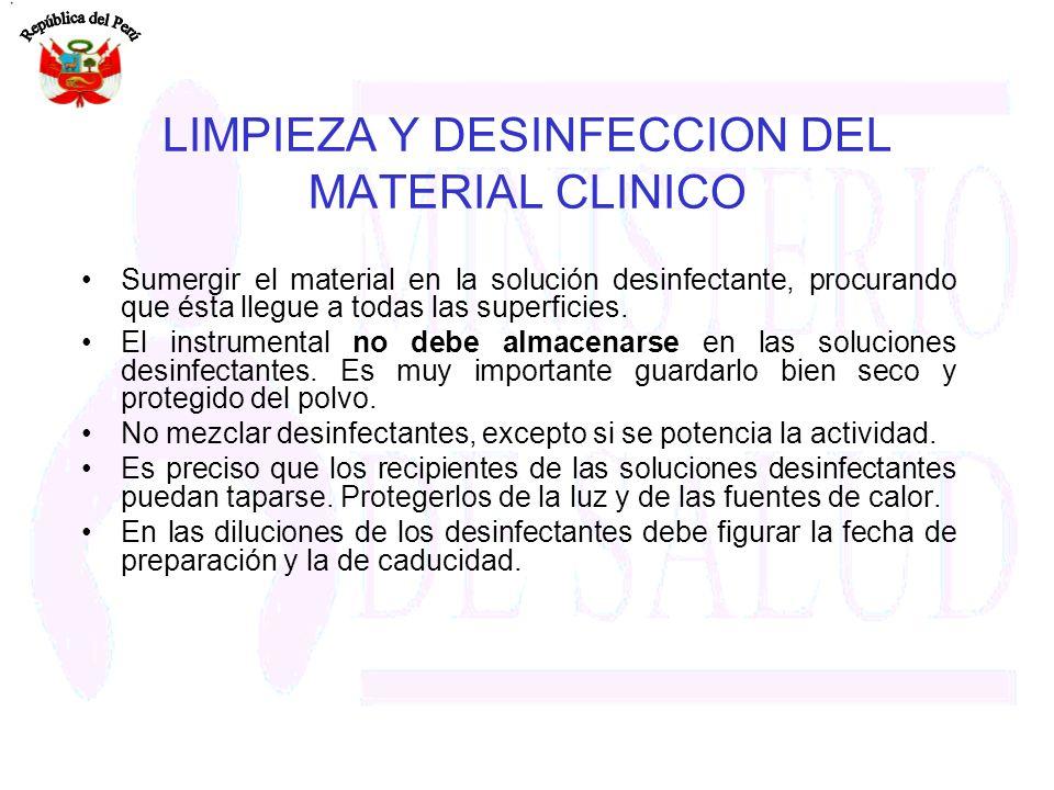 LIMPIEZA Y DESINFECCION DEL MATERIAL CLINICO