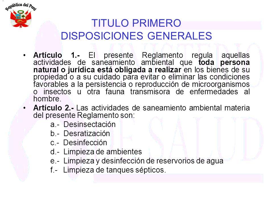 TITULO PRIMERO DISPOSICIONES GENERALES