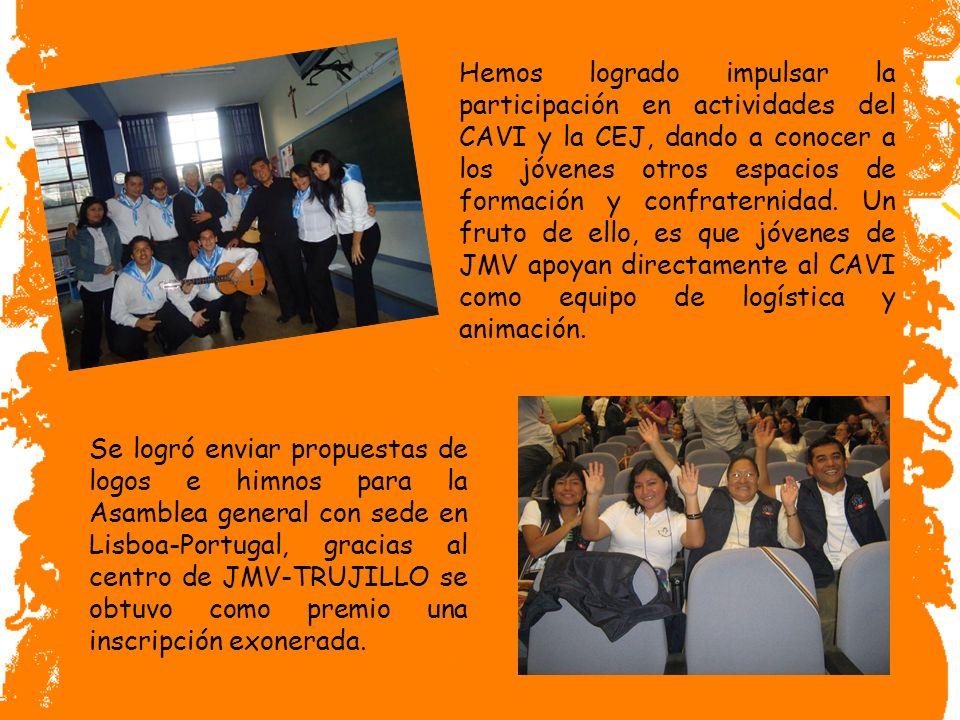 Hemos logrado impulsar la participación en actividades del CAVI y la CEJ, dando a conocer a los jóvenes otros espacios de formación y confraternidad. Un fruto de ello, es que jóvenes de JMV apoyan directamente al CAVI como equipo de logística y animación.