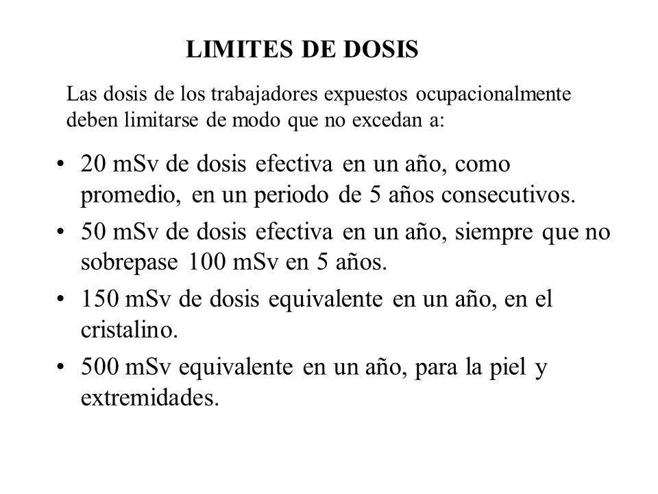 150 mSv de dosis equivalente en un año, en el cristalino.