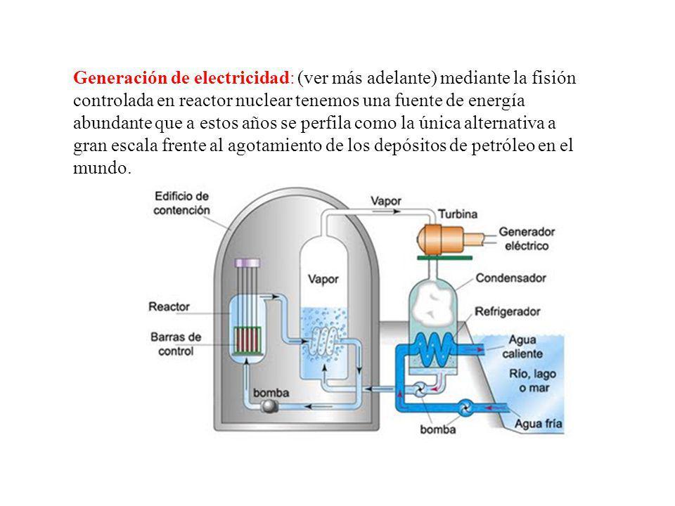Generación de electricidad: (ver más adelante) mediante la fisión controlada en reactor nuclear tenemos una fuente de energía abundante que a estos años se perfila como la única alternativa a gran escala frente al agotamiento de los depósitos de petróleo en el mundo.