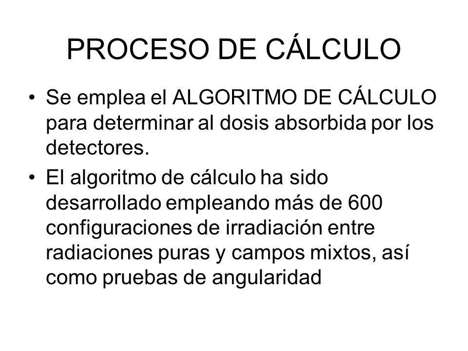 PROCESO DE CÁLCULO Se emplea el ALGORITMO DE CÁLCULO para determinar al dosis absorbida por los detectores.