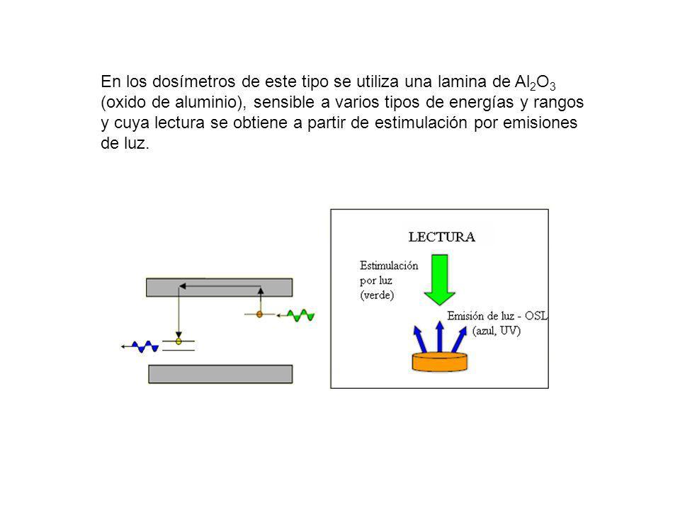 En los dosímetros de este tipo se utiliza una lamina de Al2O3 (oxido de aluminio), sensible a varios tipos de energías y rangos y cuya lectura se obtiene a partir de estimulación por emisiones de luz.