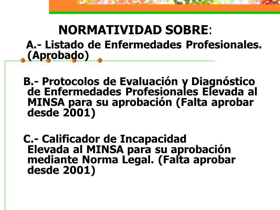NORMATIVIDAD SOBRE: A.- Listado de Enfermedades Profesionales. (Aprobado)
