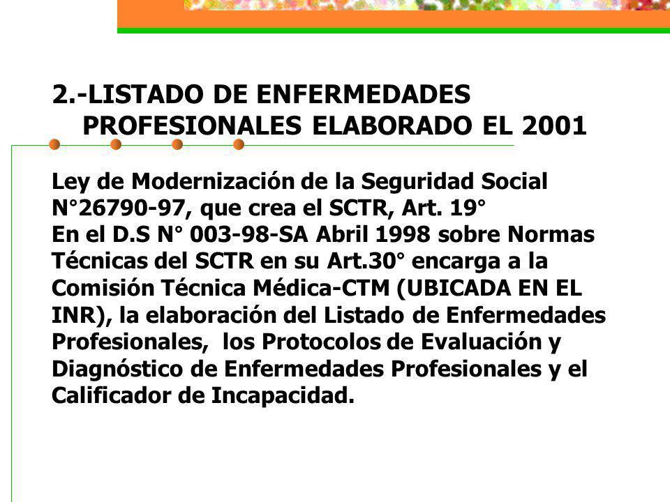 2.-LISTADO DE ENFERMEDADES PROFESIONALES ELABORADO EL 2001 Ley de Modernización de la Seguridad Social N°26790-97, que crea el SCTR, Art.