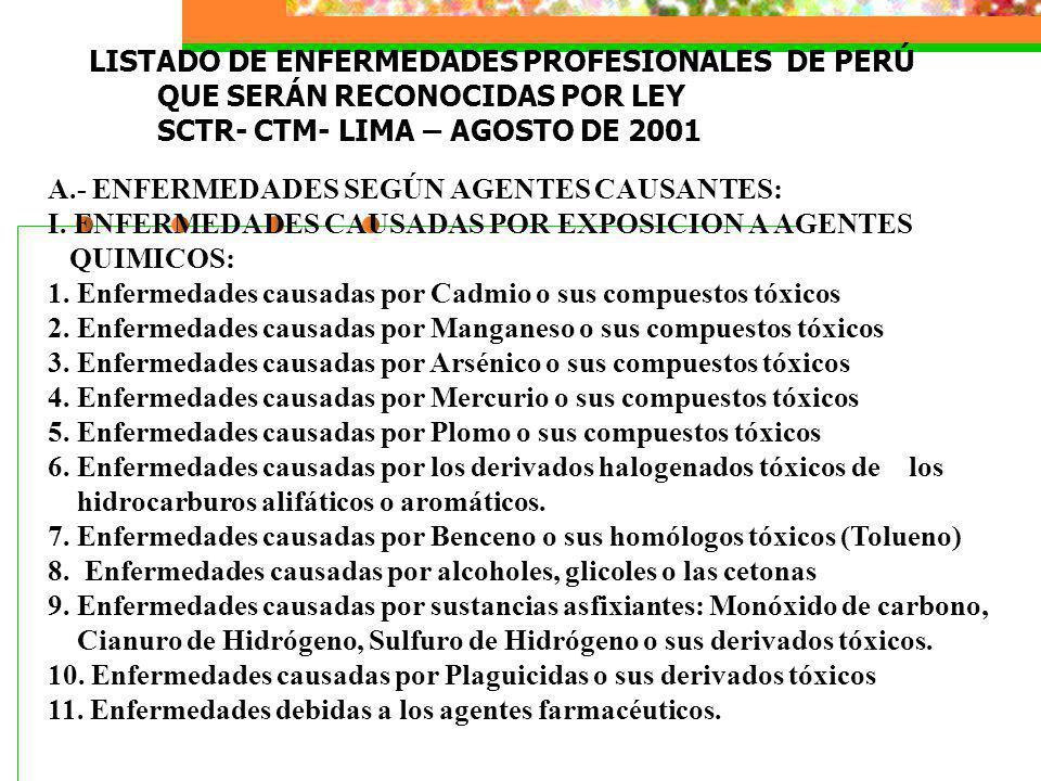 LISTADO DE ENFERMEDADES PROFESIONALES DE PERÚ QUE SERÁN RECONOCIDAS POR LEY SCTR- CTM- LIMA – AGOSTO DE 2001