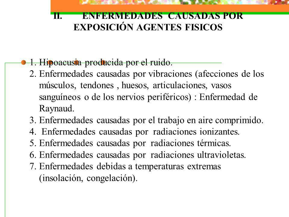 II. ENFERMEDADES CAUSADAS POR EXPOSICIÓN AGENTES FISICOS