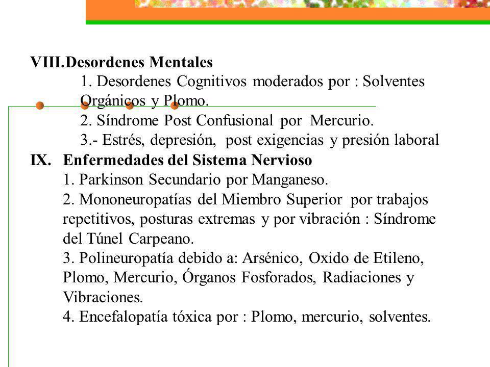 Desordenes Mentales IX. Enfermedades del Sistema Nervioso. 1. Parkinson Secundario por Manganeso.