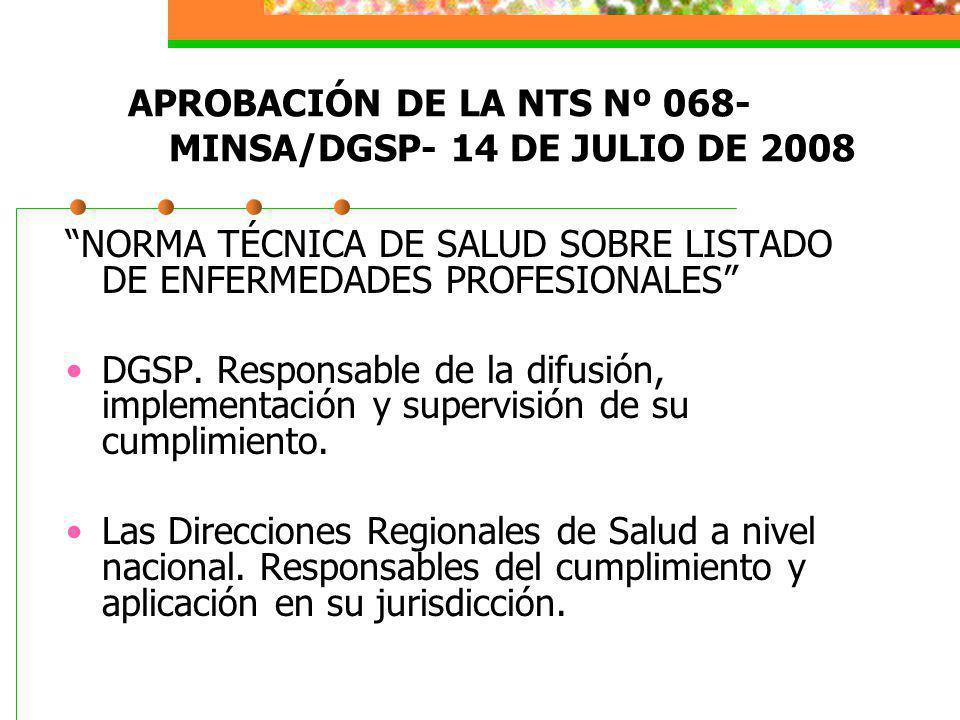 APROBACIÓN DE LA NTS Nº 068- MINSA/DGSP- 14 DE JULIO DE 2008