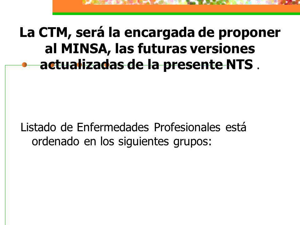 La CTM, será la encargada de proponer al MINSA, las futuras versiones actualizadas de la presente NTS .