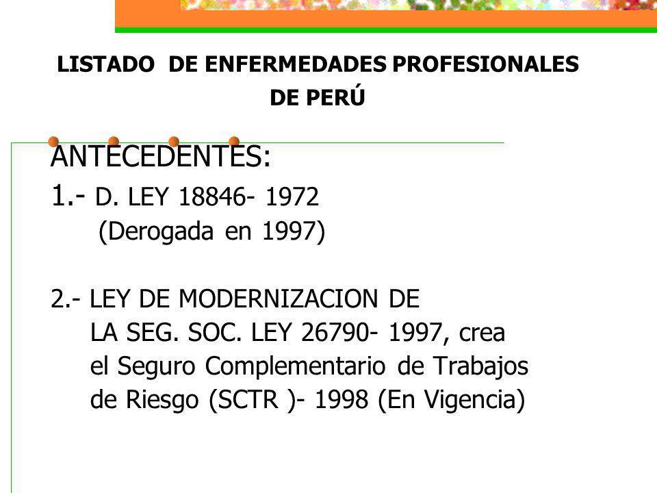 LISTADO DE ENFERMEDADES PROFESIONALES DE PERÚ