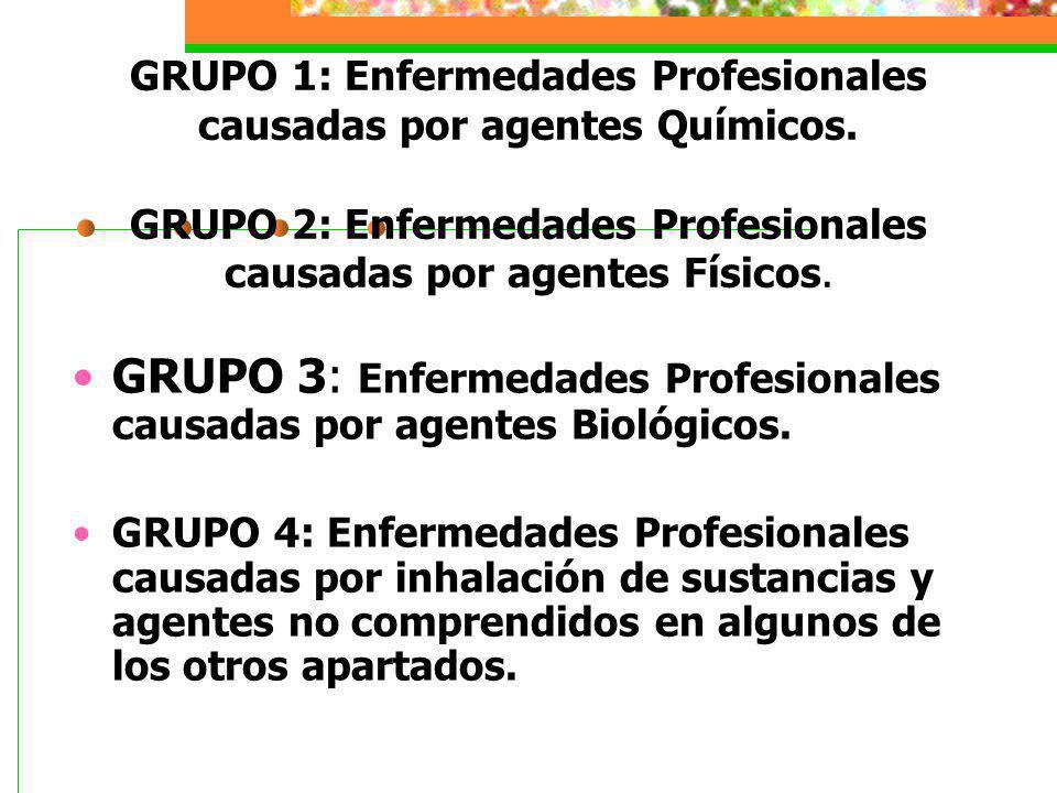 GRUPO 3: Enfermedades Profesionales causadas por agentes Biológicos.