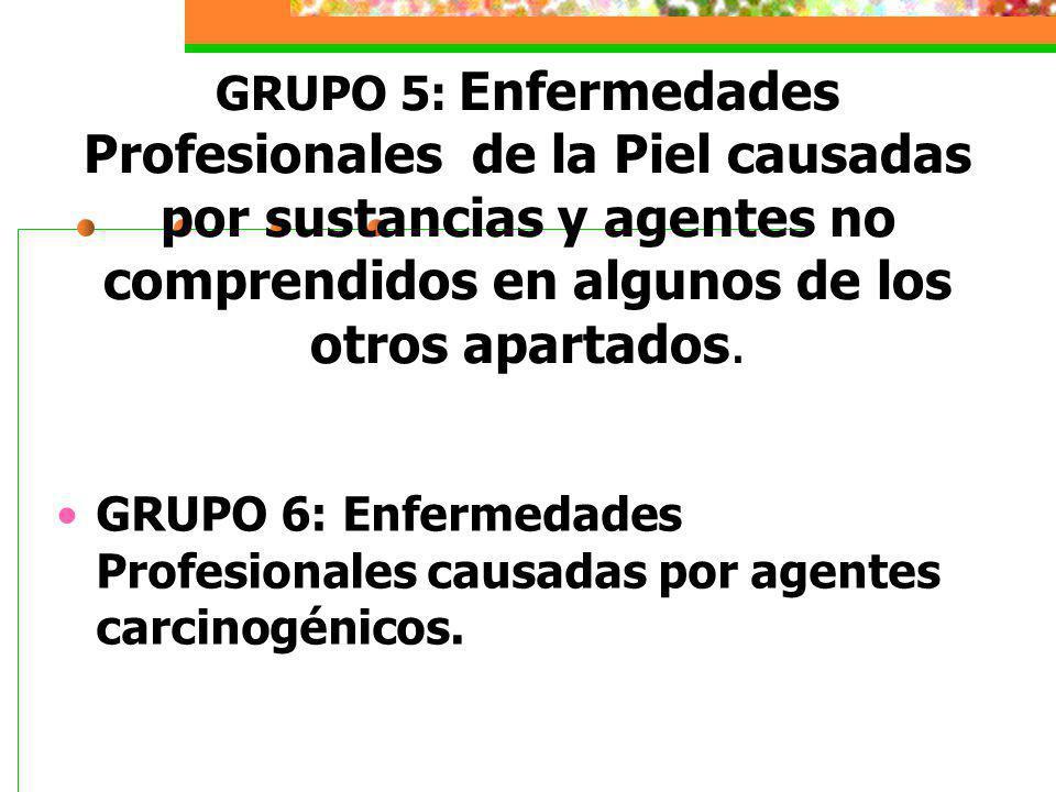 GRUPO 5: Enfermedades Profesionales de la Piel causadas por sustancias y agentes no comprendidos en algunos de los otros apartados.