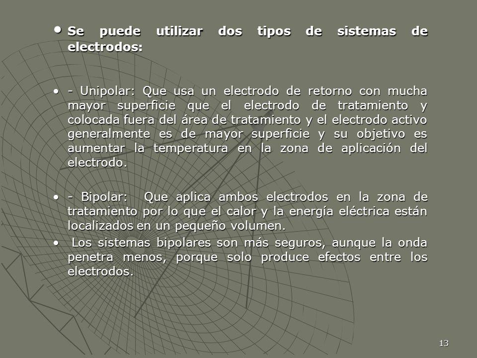Se puede utilizar dos tipos de sistemas de electrodos: