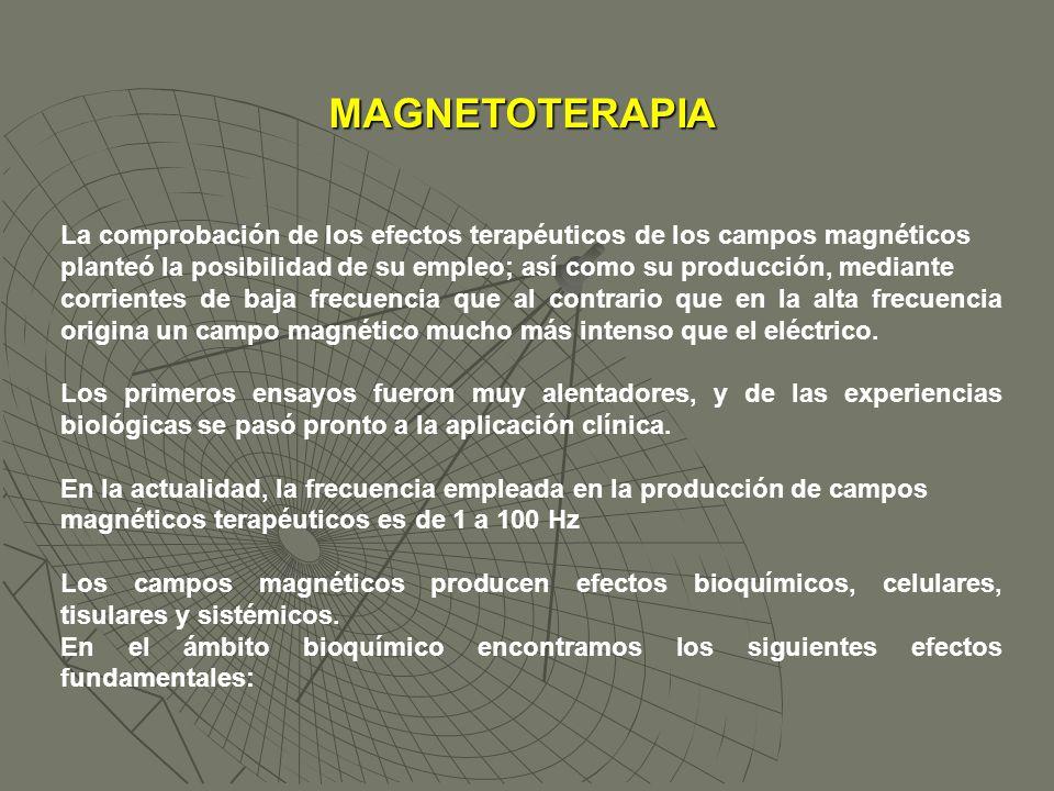 MAGNETOTERAPIA La comprobación de los efectos terapéuticos de los campos magnéticos.