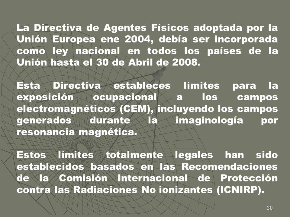 La Directiva de Agentes Físicos adoptada por la Unión Europea ene 2004, debía ser incorporada como ley nacional en todos los países de la Unión hasta el 30 de Abril de 2008.