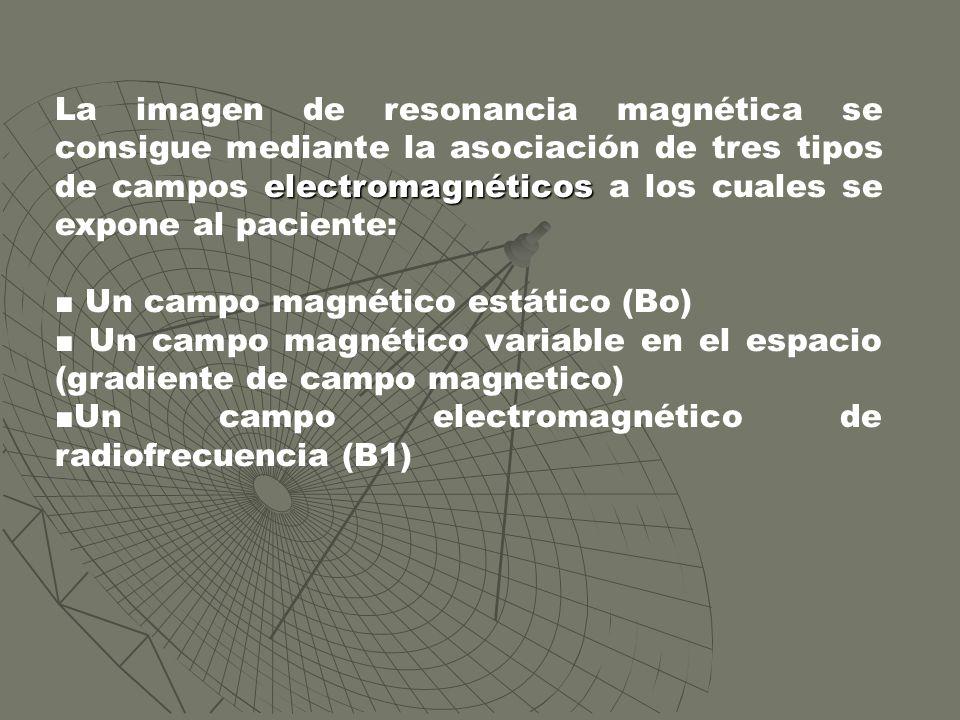 La imagen de resonancia magnética se consigue mediante la asociación de tres tipos de campos electromagnéticos a los cuales se expone al paciente: