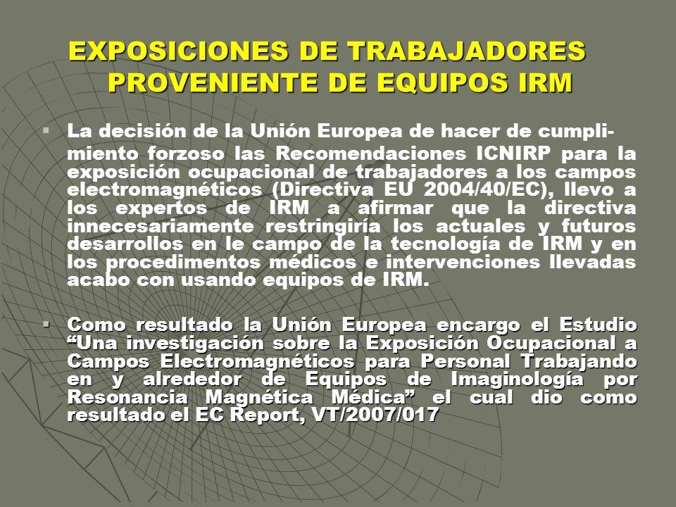 EXPOSICIONES DE TRABAJADORES PROVENIENTE DE EQUIPOS IRM