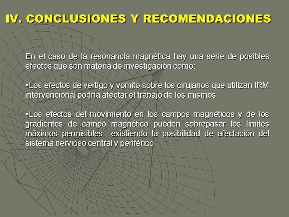 IV. CONCLUSIONES Y RECOMENDACIONES