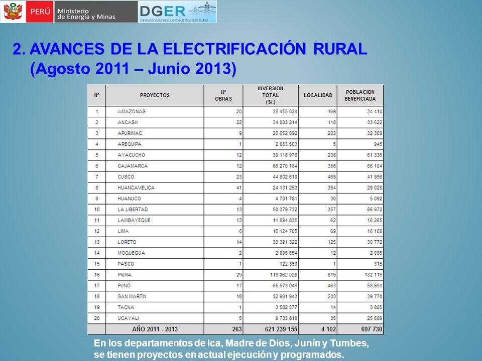 2. AVANCES DE LA ELECTRIFICACIÓN RURAL (Agosto 2011 – Junio 2013)