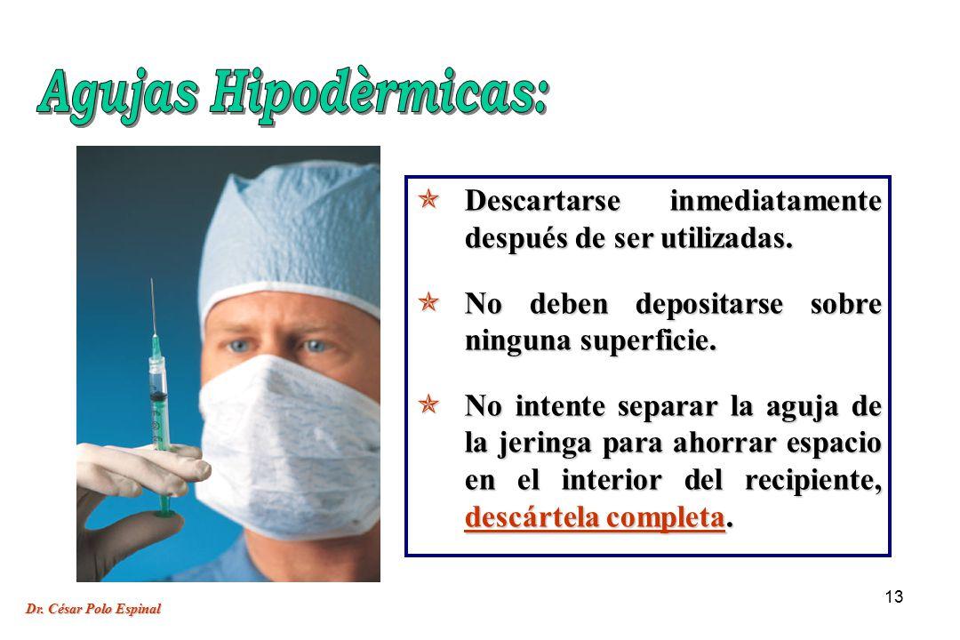 Agujas Hipodèrmicas: Descartarse inmediatamente después de ser utilizadas. No deben depositarse sobre ninguna superficie.