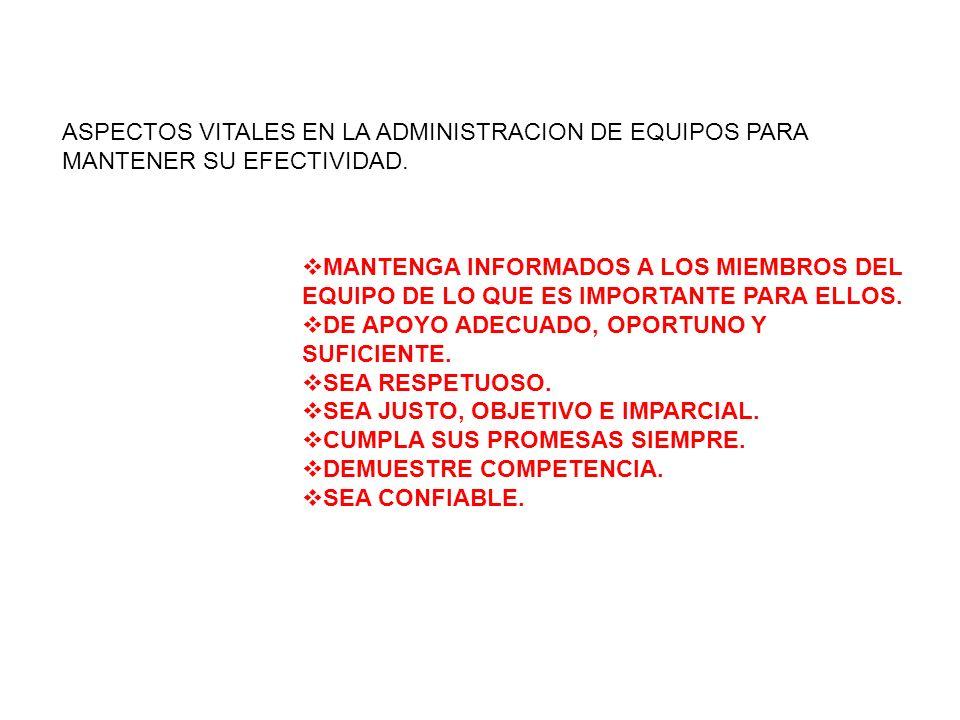 ASPECTOS VITALES EN LA ADMINISTRACION DE EQUIPOS PARA MANTENER SU EFECTIVIDAD.