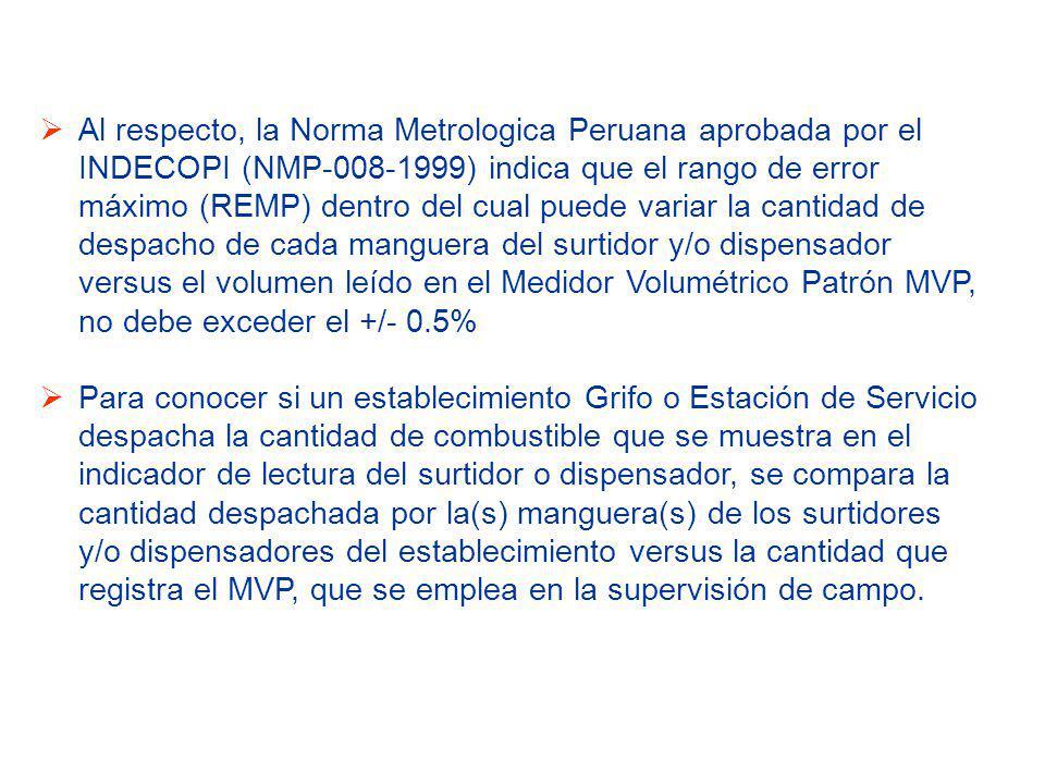 Al respecto, la Norma Metrologica Peruana aprobada por el INDECOPI (NMP-008-1999) indica que el rango de error máximo (REMP) dentro del cual puede variar la cantidad de despacho de cada manguera del surtidor y/o dispensador versus el volumen leído en el Medidor Volumétrico Patrón MVP, no debe exceder el +/- 0.5%